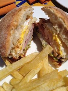 A Warm Club Sandwich with Egg